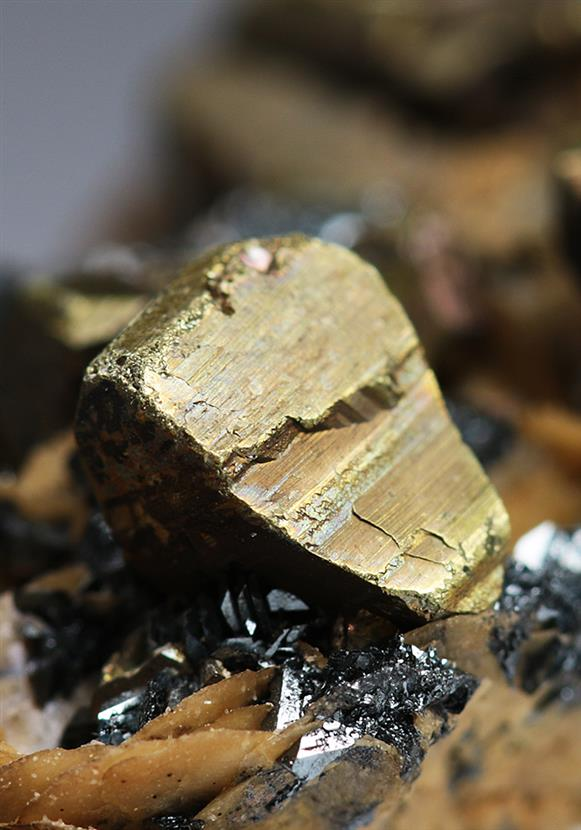 Chalcopyrite With Hematite on Siderite