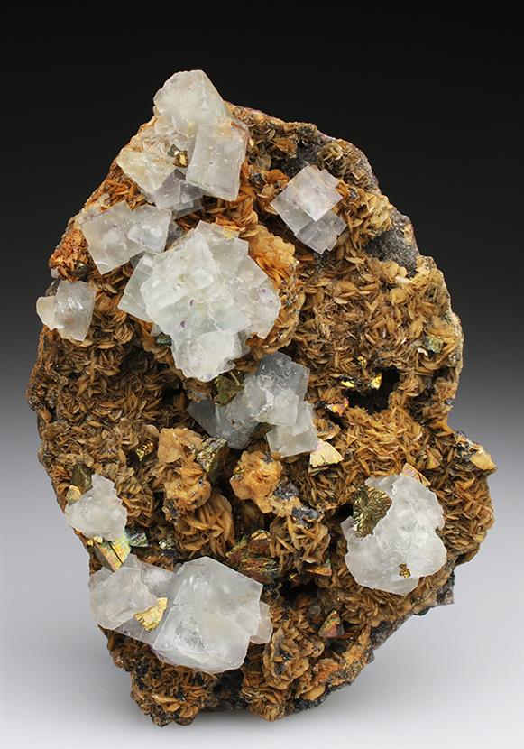 Fluorite on Siderite With Chalcopyrite