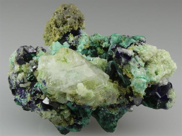 Malachite After Azurite With Anglesite