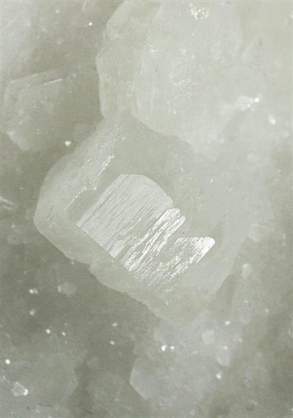 Strontianite on Calcite on Dolomite