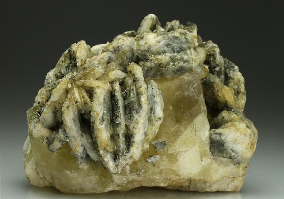 Baryte and Pyrite on Fluorite