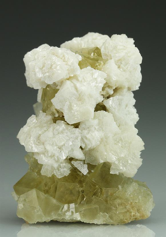 Ankerite on Fluorite With Calcite