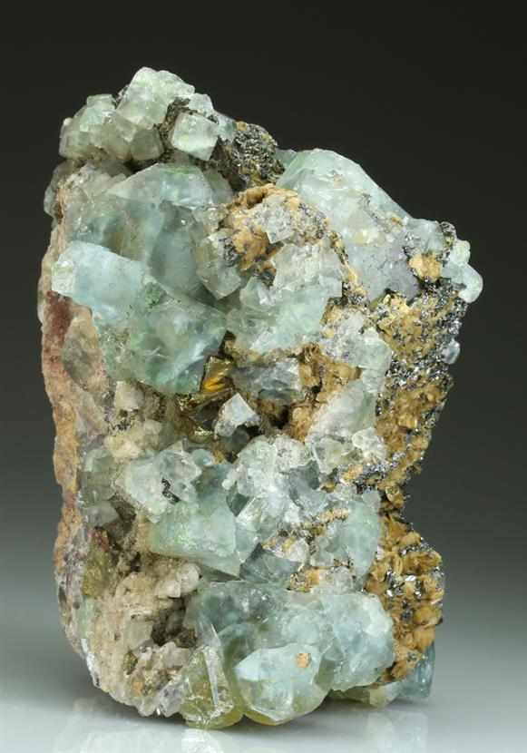 Fluorite on Siderite With Hematite
