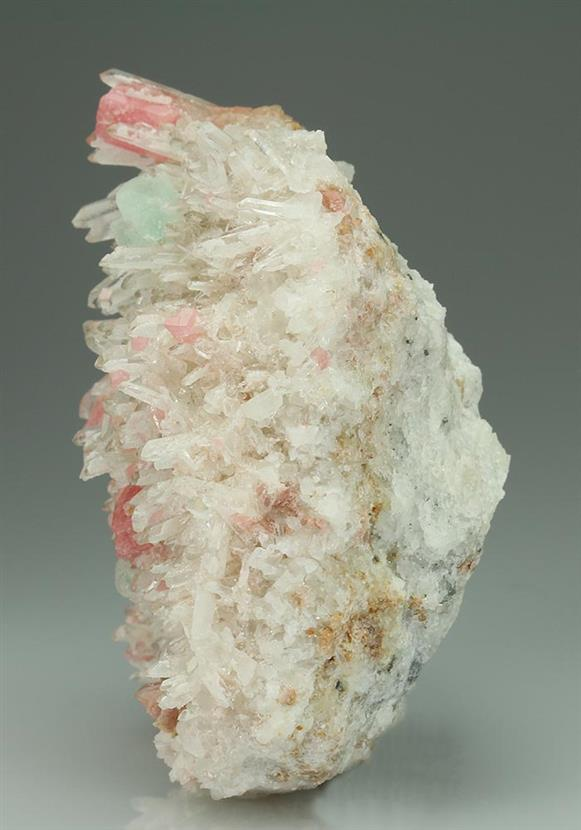 Rhodochrosite With Fluorite on Quartz