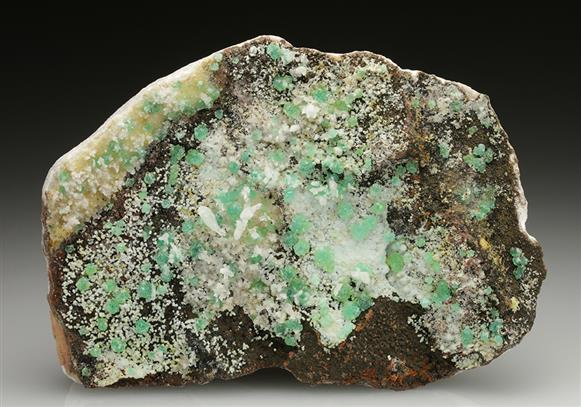 Cuprian Adamite on Smithsonite With Calcite