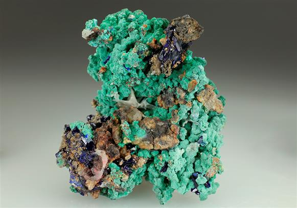 Azurite With Malachite and Cerussite