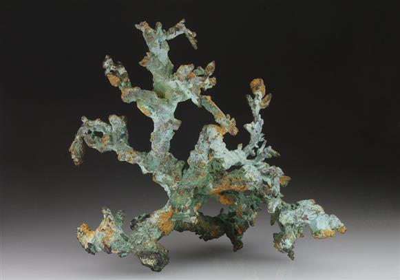 Native Copper Coated By Malachite