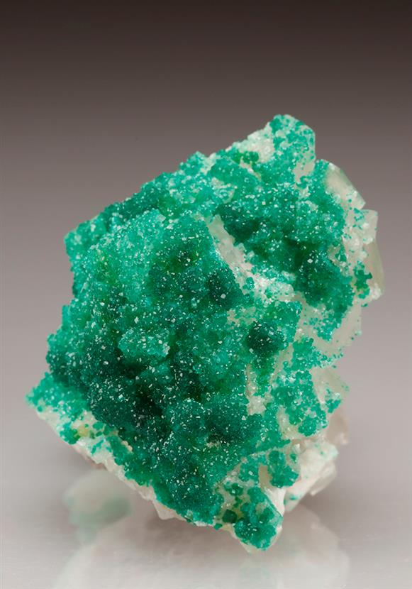 Dioptase on Calcite