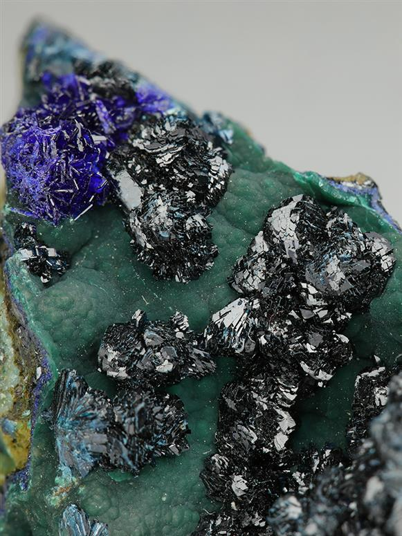 Clinoclase and Azurite on Cornwallite