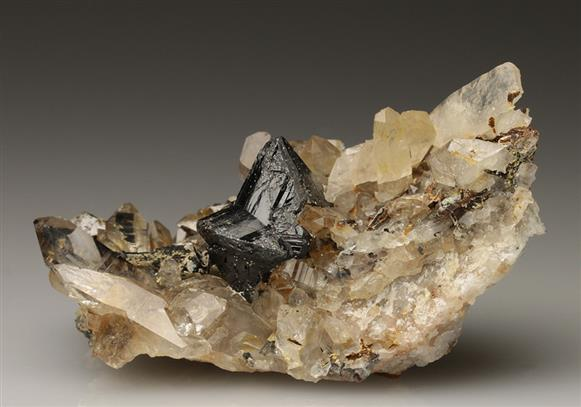 Cassiterite With Wolframite on Quartz