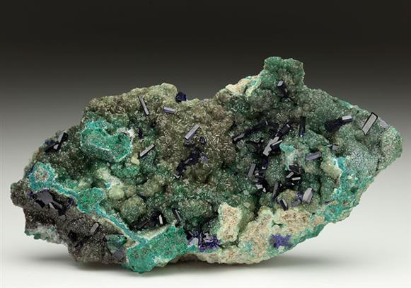 Azurite on Smithsonite