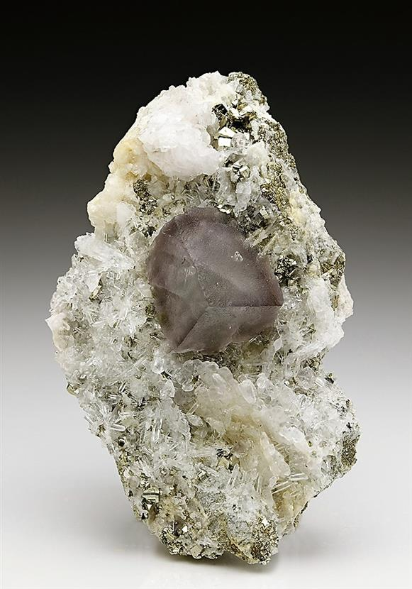 Fluorite on Quartz With Pyrite