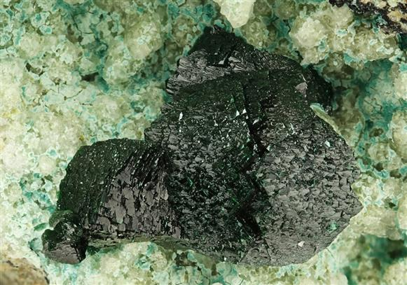 Libethenite on Chrysocolla