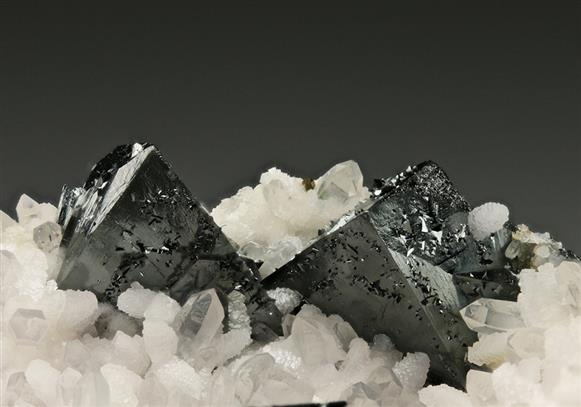 Tetrahedrite With Calcite on Quartz.