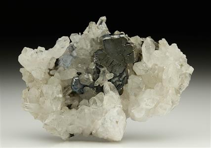 BOURNONITE with QUARTZ and FLUORITE