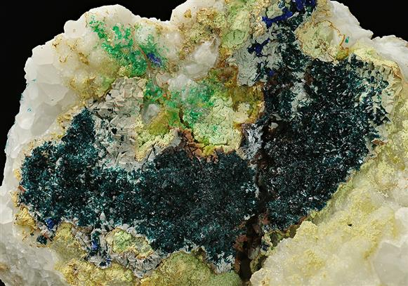CLINOCLASE with CORNWALLITE,  AZURITE and MALACHITE