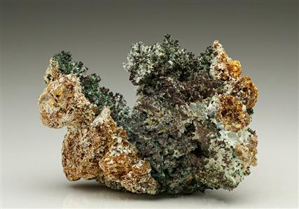 NATIVE COPPER with Malachite, Smithsonite and Cerussite