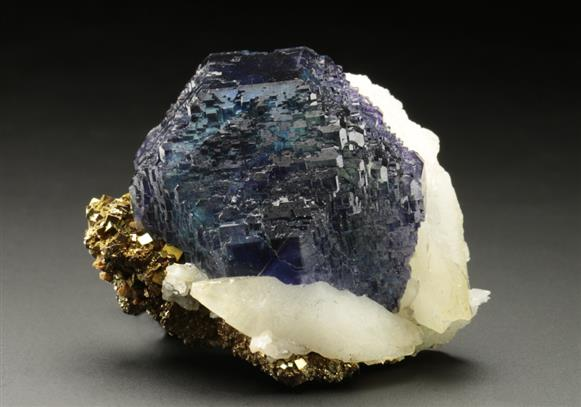 Fluorite and Calcite on Pyrite