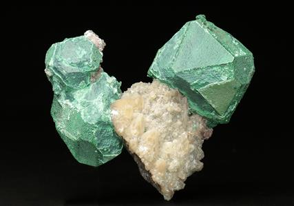Malachite coating Cuprite crystals