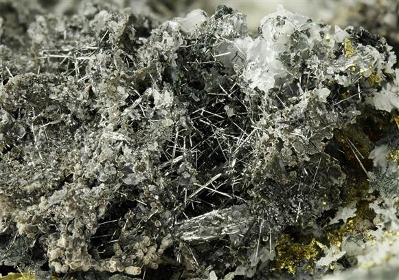 Bismuthinite with Cassiterite and Chalcopyrite