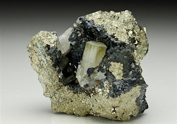 Fluorapatite on Tetrahedrite with Galena and Pyrite
