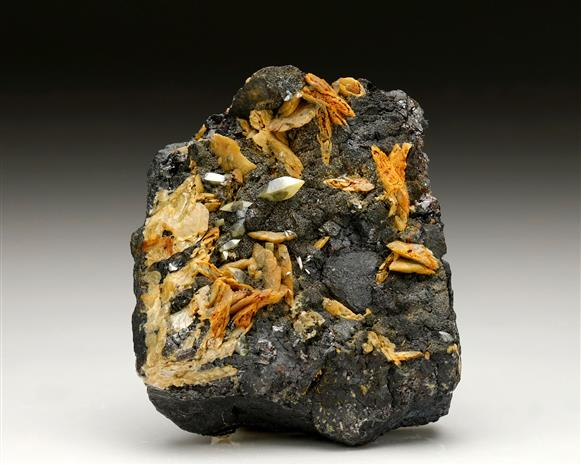 Wulfenite on Galena and Sphalerite with Siderite