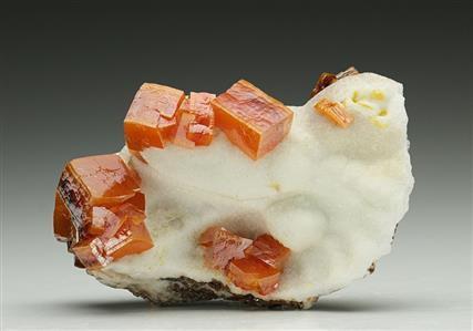 Wulfenite on Calcite