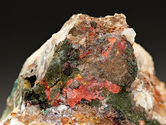 Cuprite var Chalcotrichite with Malachite