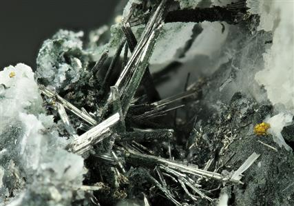 Bismuthinite with Chalcopyrite and Wood Tin