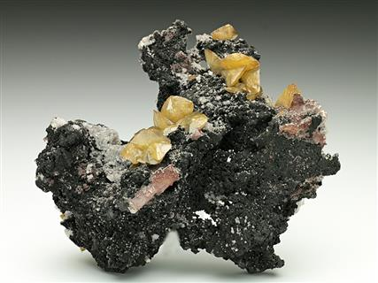 Wulfenite on Tennantite with Dolomite