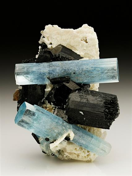 Beryl var Aquamarine with Schorl on Feldspar