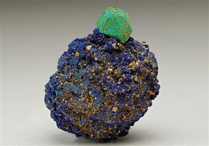 Malachite pseudomorph after Cuprite on Azurite