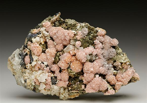 Rhodochrosite with Calcite and Pyrite