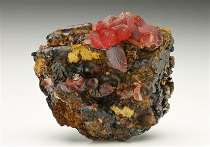 Rhodochrosite on Goethite