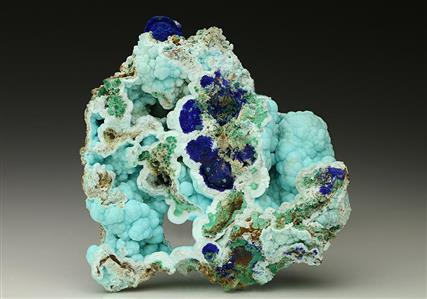 Chalcoalumite with Azurite