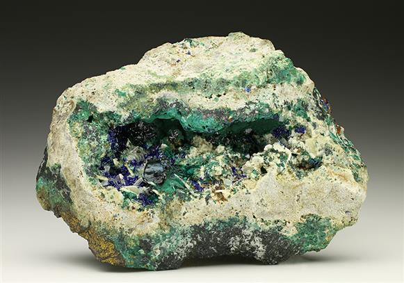 Clinoclase with Malachite and Azurite