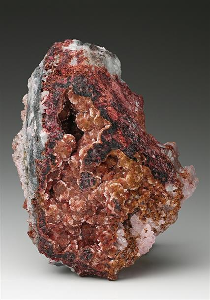 Arseniosiderite with Roselite on Calcite