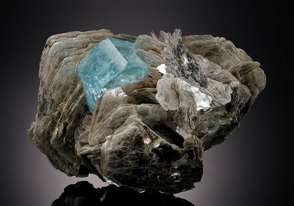 Beryl var Aquamarine with Muscovite