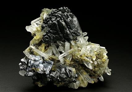 Sphalerite with Galena, Andradite Garnet and Quartz