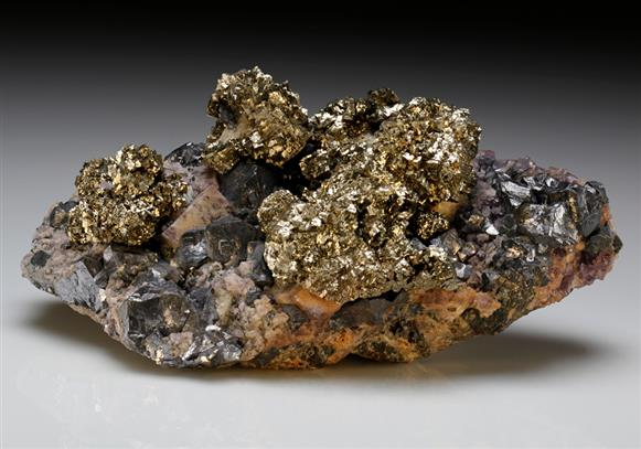 Pyrite with Galena and Fluorite