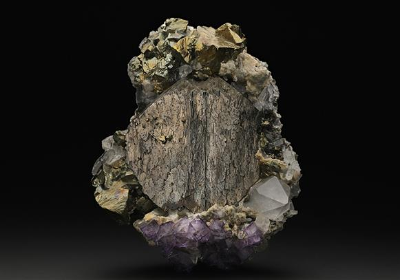 Arsenopyrite  with Fluorite and Chalcopyrite