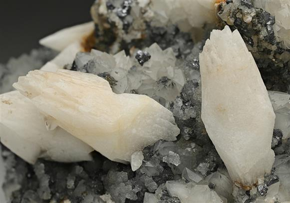 Calcite with Galena on Quartz