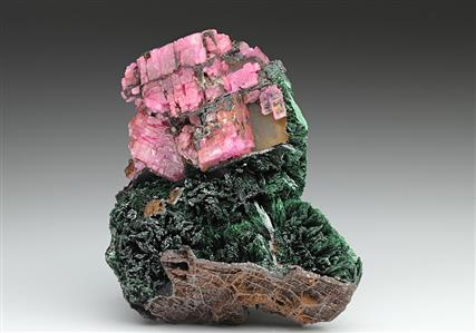 Cobaltoan Calcite with Malachite