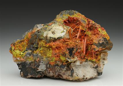 Crocoite with Vauquelinite and Pyromorphite