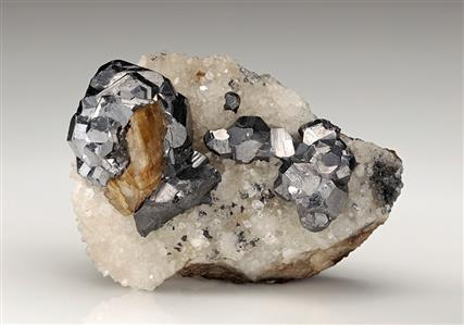 GALENA with SIDERITE and QUARTZ