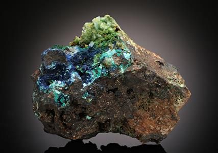 Chalcophyllite with Azurite