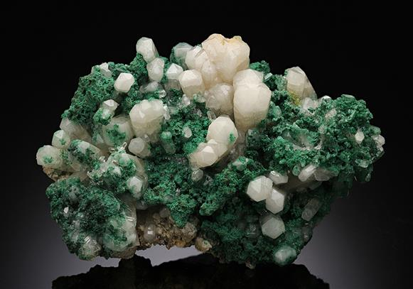 Aragonite with Malachite