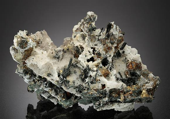 Bismuthinite with Wood Tin, Chalcopyrite and Quartz