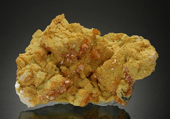 Wulfenite with Mimetite on Calcite