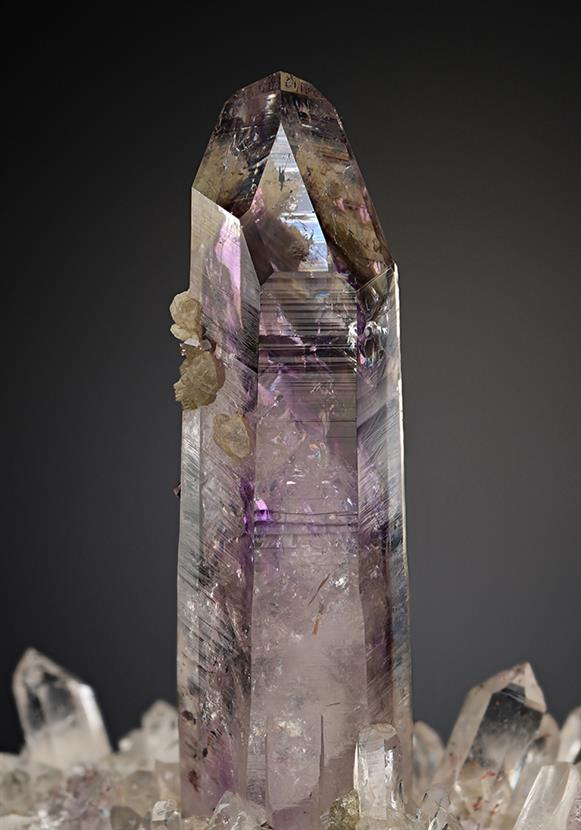"Quartz Var. ""Amethyst"" with Prehnite"